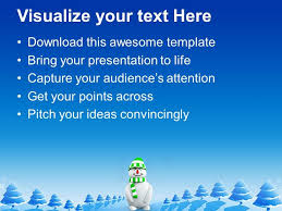 Winter Powerpoint Snowman With Green Hat Christmas Cold Winter Powerpoint