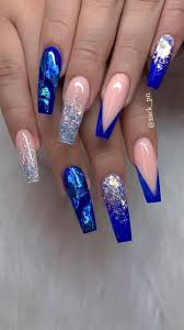 Blue Glitter Nail Designs Blue Pink Nails Blue Acrylic Nails Blue Nails Acrylic