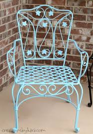 metal patio chair makeover with rustoleum spray paint