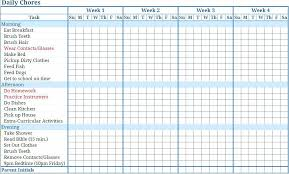Household Cleaning Chore Chart Family Chore Chart For Weekly Schedule Daily Template