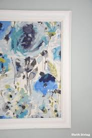 how to frame fabric gorgeous watercolor print linen fabric in shades of blue and turquoise