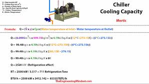 now lets look at how to calculate the cooling capacity of a chiller in imperial units