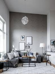 Scandinavian Living Room Design Idea with grey sofa, modern coffee ...