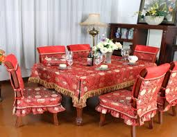 red fabric dining chairs cover match to dining tablecloth full size