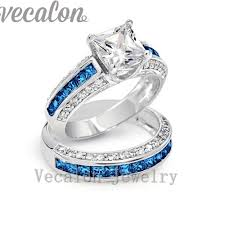Female Engagement Ring Designs Us 17 95 50 Off Vecalon Brand Design 5a Blue Zircon Cz Wedding Band Ring Set For Women 10kt White Gold Filled Female Engagement Finger Ring In