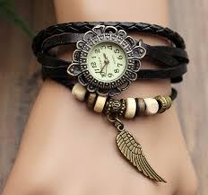 handmade leather strap watches woman girl quartz wrist watch bracelet watch black