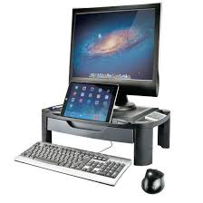 2 in 1 height adjule monitor riser tablet stand with storage drawer