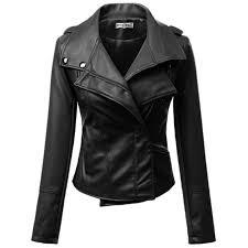 plain pu double lapel motorcycle jacket