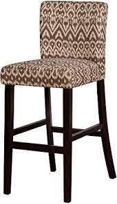 Benjara <b>Wooden Bar</b> Stool with Ikat Design Textures, <b>Brown</b> and ...