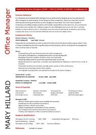 Office Manager resume template personal statement