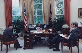 oval office history. After Several Mergers, The C\u0026O Donated Desk To White House, And It  Was Placed In Oval Office Study. George H.W. Bush Elected Use Walnut Oval Office History