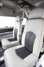 gray two tone leather interior in a boss 182