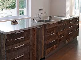 Reclaimed Wood Kitchen Cabinets in Rustic Theme : Reclaimed Wood Kitchen  Cabinets Stainless Steel Surface Counter