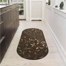 ottohome collection contemporary leaves design chocolate 2 ft x 5 ft oval runner rug