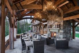 twig chandelier patio rustic with cabin covered