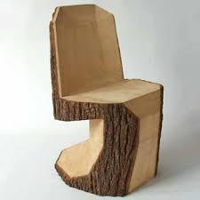 modern furniture design. wood dining chairs tree trunk handcarved handcrafted modern furniture design e