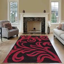 modern area black red rug for living room