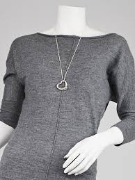 tiffany co sterling silver elsa peretti open heart diamonds by the yard necklace pendant