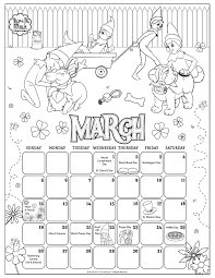 March 2017 Printable Calendar Coloring Pages