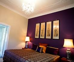 Bedroom:Modern Asian Bedroom Design With Purple Accent Wall Paint And  Crystal Chandelier Ideas How