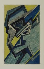 '<b>Abstract</b> Composition in <b>Blue</b> and <b>Yellow</b>', Helen Saunders, c.1915 ...