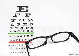 Photo Art Print Eye Glasses On Eyesight Test Chart