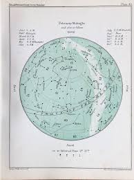 Star Chart Book Antique Astronomy Print Celestial Star Chart For February