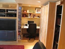 hidden home office. hidden office / moving bookcase contemporary-home-office-and-library home o