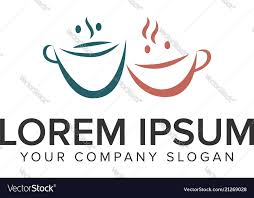 Couple Template Couple Mug Coffee Logo Design Concept Template Vector Image