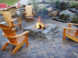 patio ideas with square fire pit. Square Fire Pit Ideas On Landscaping Design With Wood Chairs Furniture Decor And Stone Brick Floor Patio
