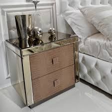 mirrored bedside table. alligator embossed pattern leather and mirrored bedside table