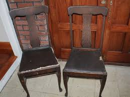 pair antique american wood chairs two old classic vintage wooden leather seats