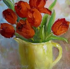 red painting painting of red tulips by cheri wollenberg