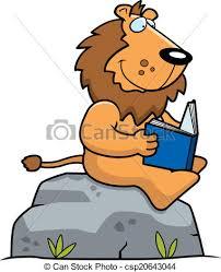 cartoon lion reading csp20643044