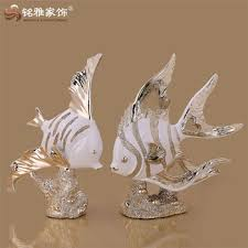 home decor figure european style lifelike fish gold silver resin