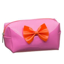 299598 bow cosmetic bag pink
