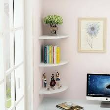 set of 3 white floating corner shelf