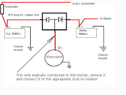 aux batt this is a circuit for a electronic isolator using diodes it allows the alternator to charge both batteries but they never connect together