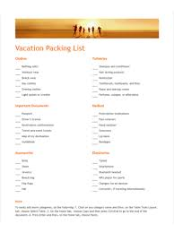 Sample Travel Packing List Vacation Packing List