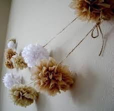 neutrals diy tissue paper pom garland rustic wedding decorations nursery decoration birthday party decorations