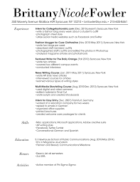 Resume For Fashion Industry Fashion Industry Resume Sample