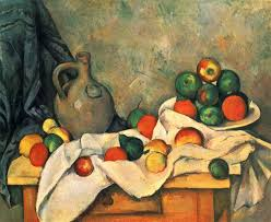 still life curtain jug and fruit by paul cezanne
