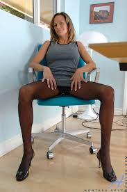 Pantyhose Cougar Woman Office