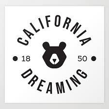 california dreaming minimalist bear art