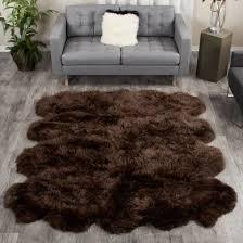 espresso brown extra large sheepskin rug 8 pelt octo 7x6 ft