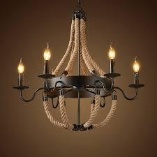 revia rustic black metal 1 tier 3 light 6 light 8 light candelabra style chandelier hemp rope