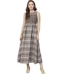 Light Cotton Maxi Dress Jaipur Kurti Cotton Brown Color Block Print Maxi Dress