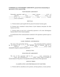 Partnership Agreement Between Two Companies Excellent Commercial Partnership Agreement Format Between Two 1