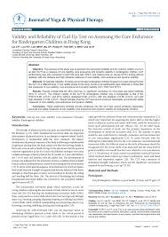 Pdf Validity And Reliability Of Curl Up Test On Assessing