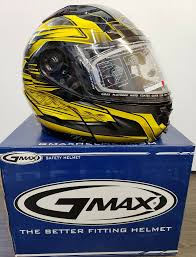 Gmax Gm64s Carbide W Dual Lens Modular Full Face Helmet Med Lg Xl Black Yellow